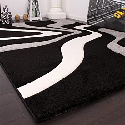Designer Rug with Contour Cut Waves Pattern Black Grey White - inexpensive UK light store.