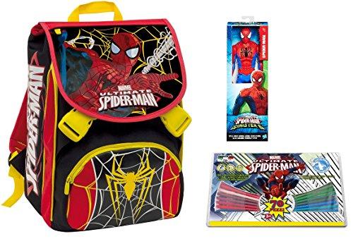 2dfaa1bc22 Seven Zaino Scuola Estensibile Big + Personaggio + Valigetta Porta Colori –  Spider-Man – Rosso Nero – 28 LT elementari e Medie