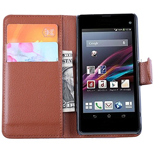 Tasche für Sony Xperia Z1 Compact (4.3 zoll) Hülle, Ycloud PU Ledertasche Flip Cover Wallet Case Handyhülle mit Stand Function Credit Card Slots Bookstyle Purse Design braun - Compact Credit Card Wallet