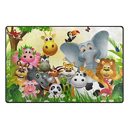 dschungel teppich Bennigiry Cartoon-Dschungel-Tier Bereich Teppich Super Soft Polyester Große Rutschfeste Modern Bad-Teppiche für Schlafzimmer Wohnzimmer Hall Abendessen Tisch Home Decor 78,7 x 50,8 cm, 31 x 20 inch