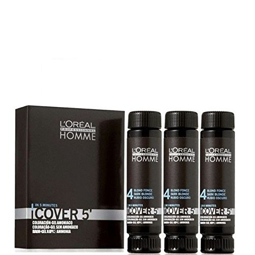 LOREAL Professionnel Homme COVER 5 - Coloration Gel - 3 x 50 ml Nr. 4 5 6 oder 7 - 4 Braun / 4 Brown -