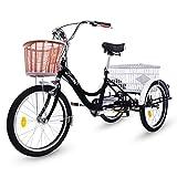 Riscko Triciclo para Adultos con Dos cestas (Negro)