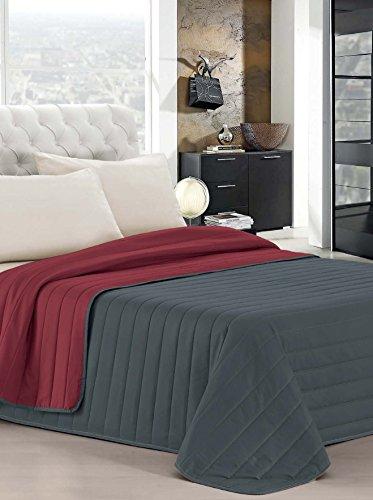 Italian bed linen elegant trapuntino matrimoniale 2 posti, bordeaux/grigio scuro, 260 x 270 cm