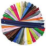 chenkou Craft 40Stück mehr als 20Farben Nylon Coil Reißverschlüsse Reißverschluss Kit Tailer Nähen Tools Craft Gesamtlänge 9Zoll (Reißverschluss Größe 20,3cm) Mix sortiert Bulk Viel