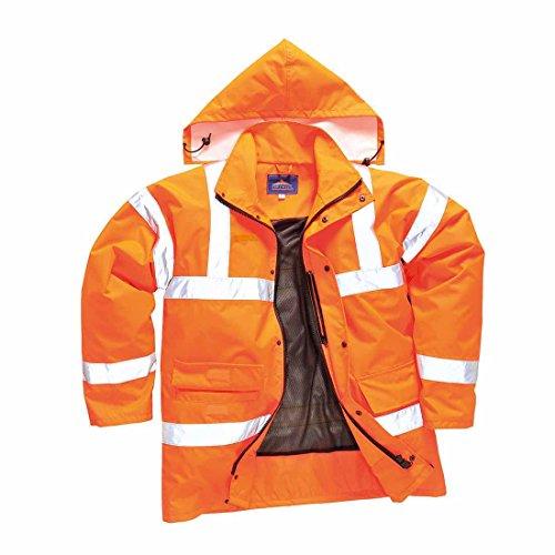 SUW–Hi-Vis Sicherheit Workwear atmungsaktiv Schiene Track Seite Jacke, XXL, Orange, 1