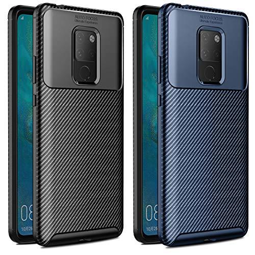 VGUARD [2 Pack] Cover per Huawei Mate 20 X/Huawei Mate 20 X 5G, [Fibra di Carbonio] Custodia Protezione in Morbida Silicone TPU Case per Huawei Mate 20 X/Huawei Mate 20 X 5G (Nero+Blu)