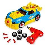 Take Apart Spielzeug-Rennwagen, Bauspielzeug-Set für Kinder, zum Bauen Ihres eigenen Autos, 30-teilig mit Werkzeug, Bohrer, realistische Geräusche und Lichter, tolles Geschenk für 3 Jahre alte Jungen