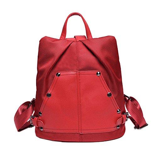 Nylon Nieten Frauen Wasserdicht Mode Freizeit All-Spiel Rucksack Handtasche Red