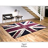 Teppich Wölkchen Union Jack Flagge Im Vintage Design | England UK | Pflegeleichter Jugendteppich Fürs Wohnzimmer, Schlafzimmer, Kinderzimmer | Schadstoffgeprüft, Allergikergeeignet (160 x 230 cm)