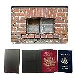 PU Pass Passetui Halter Hülle Schutz // M00156626 Mauer Fenster Klinkerbau Alt // Universal passport leather cover