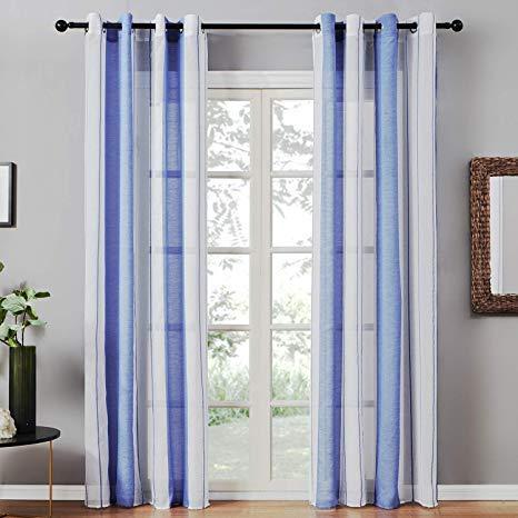 Topfinel Transparente Vorhänge mit Ösen Marine-Weiß-Streifen Voile Gardinen Dekoschal Fensterdekoration für Wohnzimmer und Küche 2er Set je 215x140cm (HxB)