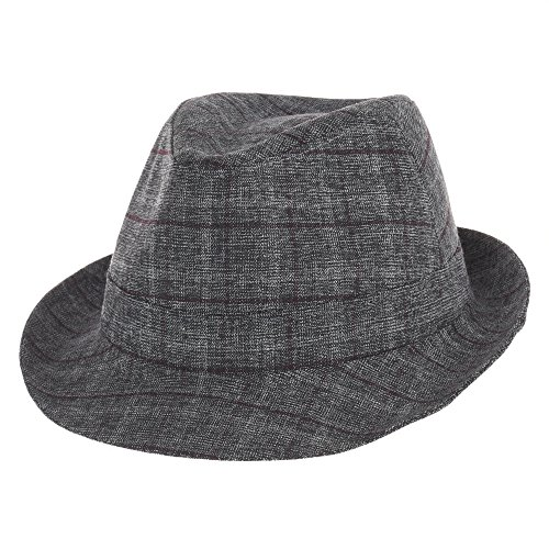 WITHMOONS Fedora Hut Bogarthut Mafiahut Banded Rayon Fedora Hat Glen Plaid Check Pttern DW6366 (Red) (Herren Plaid Fedora)