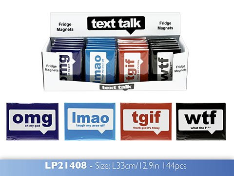 wtf What the f*** Text Talk Acronyms Black Fridge Magnet by Text Talk (Talk-text-f)