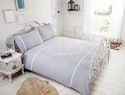 Bedding Heaven Hearts Duvet Cover. White/Red or Grey/White Single, Double, King and Super King. Poly Cotton Quilt Cover Set (king, grey/white)