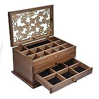 Loveinwinter Wooden Jewellery Box,3-layer Jewelry Storage Box, Earrings Necklace Hairpin Wooden Storage Box