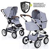 ABC Design Kombi-Kinderwagen Viper 4 mit Lufträdern - inkl. Babywanne, Sportsitz und XXL Zubehörset - Graphite Grey