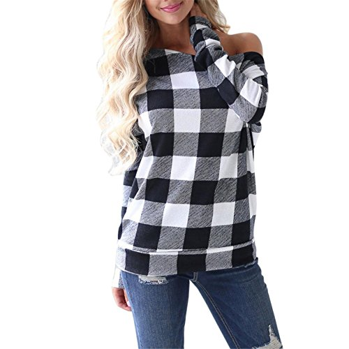 Thermal Henley Tee (BURFLY Frauen Rundhals Pullover Plaid Tops Damen Cold Shoulder Langarm-Sweatshirt Off Schulter-Shirt für Frauen (M, Gray))