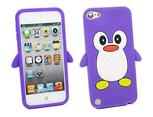 TSMINE Apple Ipod Touch 5. und 6. Generation Pinguin Cartoon Case - Cute 3D Penguin Soft Silikon zurück waschbar Cover Case Schutzhülle für iPod Touch 5. & 6. Generation, Lila