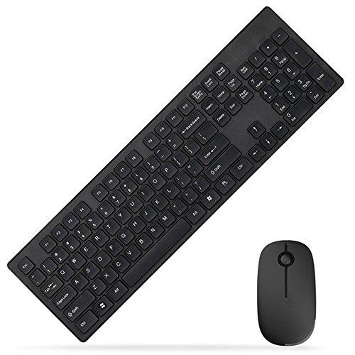 Sundy G95002,4G Kombi-Set aus kabelloser Tastatur und Maus, Quiet Click mit Nano-USB-Empfänger und Schutzhülle für Desktop-PC/Laptop schwarz schwarz 500x140x25mm