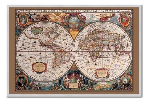 Mappa del mondo Poster stile del XVII secolo con inchiostro oro sughero Pin Lavagnetta Argento Con Cornice-96.5x 66cms (circa 96,5x 66cm)