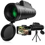 Telescopio Monoculare, Telescopio zoom 40x60, Cannocchiale portatile, Impermeabile, Antiappannamento, Prisma HD BAK4 con clip e treppiede per l'Osservazione di uccelli, il Campeggio Viaggiare