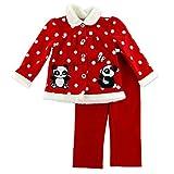 Young Hearts Baby Fleece Outfit Jacke + Hose rot weiß Punkte mit entzückender Panda Bär Deko und Glanzstein Knöpfen (56)