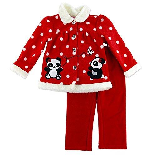 Young Hearts Baby Fleece Outfit Jacke + Hose rot weiß Punkte mit entzückender Panda Bär Deko und Glanzstein Knöpfen (56) -
