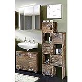 Badmöbel Set 3-teilig ● Panama Eiche ● Badezimmer Komplettset: Spiegelschrank, Waschbeckenschrank, Schiebelement ● Made in Germany