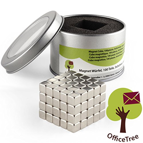 OfficeTree® 100 Mini Neodym-Magnet-Würfel 5x5x5 mm - extra-stark für Whiteboard Magnet-Tafel Pinnwand Glas-Magnet-Tafel Kühlschrank - - Mini-kühlschrank-kalender