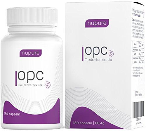Nupure OPC Traubenkernextrakt Hochdosiert Plus Natürliches Vitamin C - Made In Germany (3 Monatsvorrat)