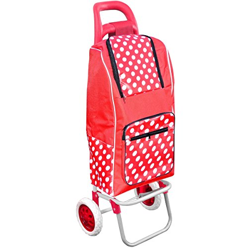 Promobo Chariot De Courses Shopping A Roulettes Isotherme A Pois Rouge 30L