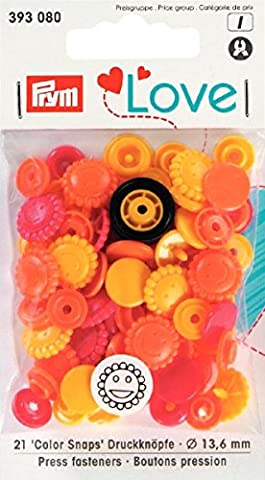 PrymLove Flower Shape Non-Sew ColorSnaps Snap Fasteners, Plastic, Yellow/Orange/Red, 13.6 mm, 30-Piece