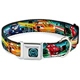 buckle-down Dyck Cars Tacho Icon Full Color Schwarz/Blau Glow Hundehalsband