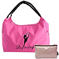 kilofly Girls Ballerina Ballet Dance Shoulder Bag Handbag + Cosmetic Pouch Set