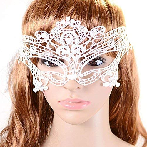 Yinglite Damen Sexy Augen Maske Schlafmaske Spitze Venezianische Maske Masquerade Ball Ball Halloween-Kostüm Kopf Sets Fancy Dress Dekorationen für Cosplay Party (Queen White)