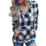 OverDose Damen Herbst-Feiertags-Art-Art- und Weisefrauen-Pullover-T-Shirt Karierte Taschen-Hoodie-Lange Hülsen-Blusen-Spitzenstrand-datierend dünne Pullover