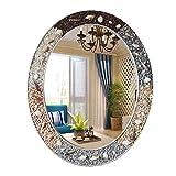 YHH-Mirror Badezimmerspiegel, Waschbecken, Schminkspiegel, Mediterrane Wind Stone Shell Dekoration, Wasserdichter Spiegel,A