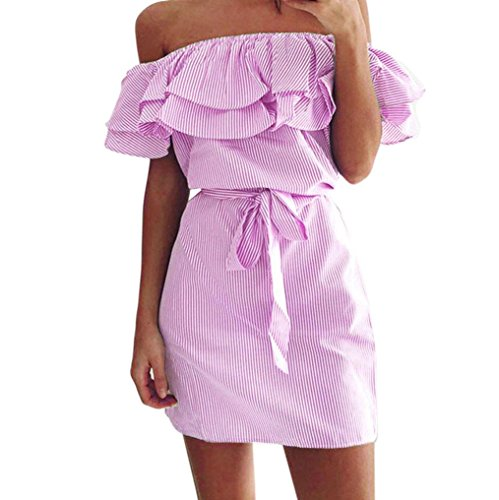 JUTOO Frauen Sommer Striped aus der Schulter Rüschen Kleid mit Gürtel(Rosa, EU:46/CN:2XL) - Carters Striped Body