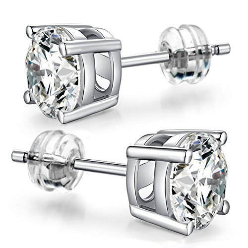 10K White Gold Round CZ Stud Earrings (2mm – 8mm)