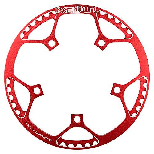 Tbest MTB Kettenblatt 53 Zähne BCD 130mm Singlespeed Fahrrad Kettenblatt, 53T BMX Rennrad Mountainbike Kettenblatt Fahrrad-Kettenring-Straßen Fahrrad-Einzelne Kurbel-Kettenring(Rot)