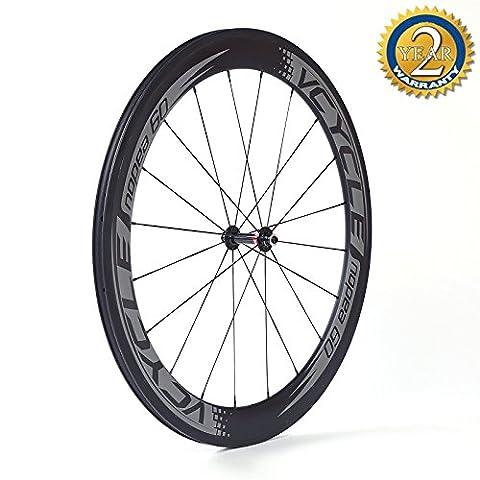 VCYCLE Nopea 700C Fibre Carbone Course Vélo Route Roues Tubulaire 60mm Ultra Léger Shimano 8/9/10/11 Vitesse ou Campagnolo 10/11 Vitesse Disponible Only 1395g ( Roue Avant)