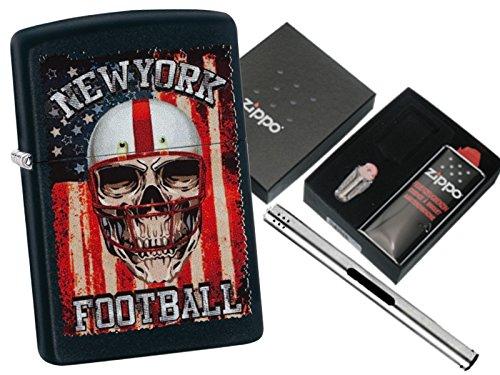 Zippo New York Football mit Zippo Geschenkset und L.B Chrome Stabfeuerzeug (New Zippo Feuerzeug York)