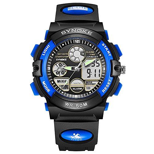 ufengke® à double mouvement montre à bracelet sport ,garçons analogique-numérique militaire poignet montre à bracelet bleu