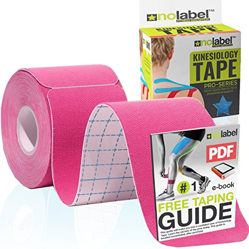 Pink Kinesiology Tape Pre-Cut - 4 Colours - 5m Sports Tape For Knee Shoulder Elbow Ankle Back & Neck...