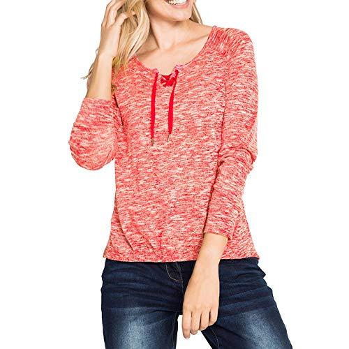 PinkLu Sport Shirt Langarm Damen,Fashion Solid Langarm Cross Lace Up TüLle BeiläUfige Lose Spitzenbluse Elegant Konventionelle HüLse Tops Grau/Blau/Rot(S-XXL) -
