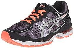ASICS Womens Gel Kayano 22 Running Shoe, Black/Flash Coral/White, 8 M US