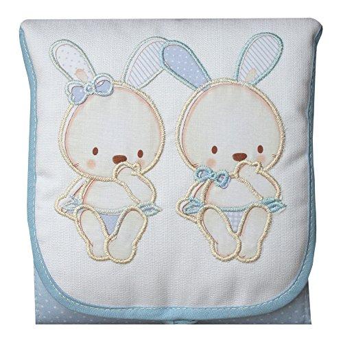 Cambiador de Bebé Portátil e Impermeable Conejitos Azul
