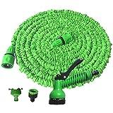 HITTIME Owner Expandable Garden Hose 50FT, Flexible Water Hose Pipe,Triple Latex Core Tube Hose Pipe Green