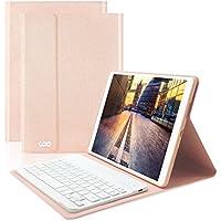 Clavier Bluetooth iPad Coque 9.7,AZERTY français, Housse Clavier pour iPad 2018/2017, iPad Pro 9.7, iPad Air 2/1, Clavier Bluetooth sans Fil Slim Etui Smart Réveil/Sommeil Automatique (Champagne)