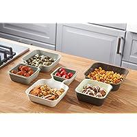 Tomorrow's Kitchen 2850360 - Juego de 6 bandejas apilables para Aperitivos y Salsas, Diferentes tamaños, Color Blanco y Gris